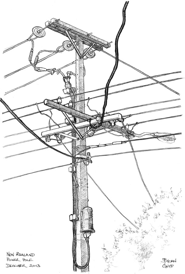 sketchy drawings power pole when i was younger i thought that in the future there wouldn t be any telephone power poles all wires would be below ground