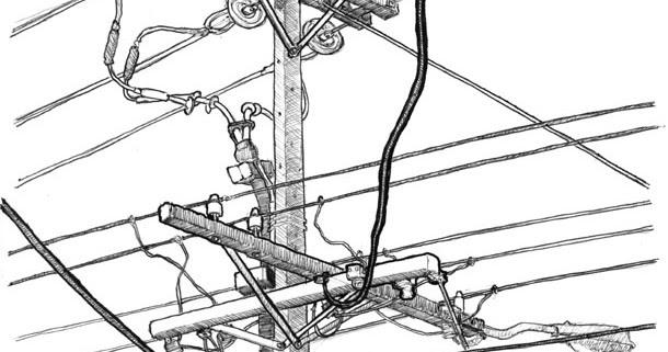 sketchy drawings  power pole