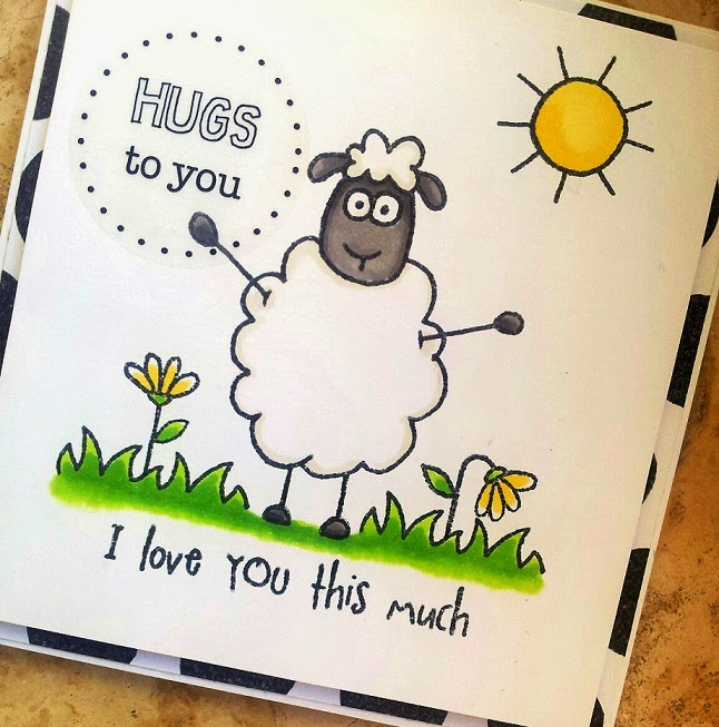 SRM Stickers Blog - Jane's Doodles Stamps - #stamps #SheamusSheep #love #hugs  #stickers