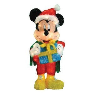 Big Disney 32-Inch Mickey Mouse with Santa Hat Pre-lit Yard Art Christmas Decoration