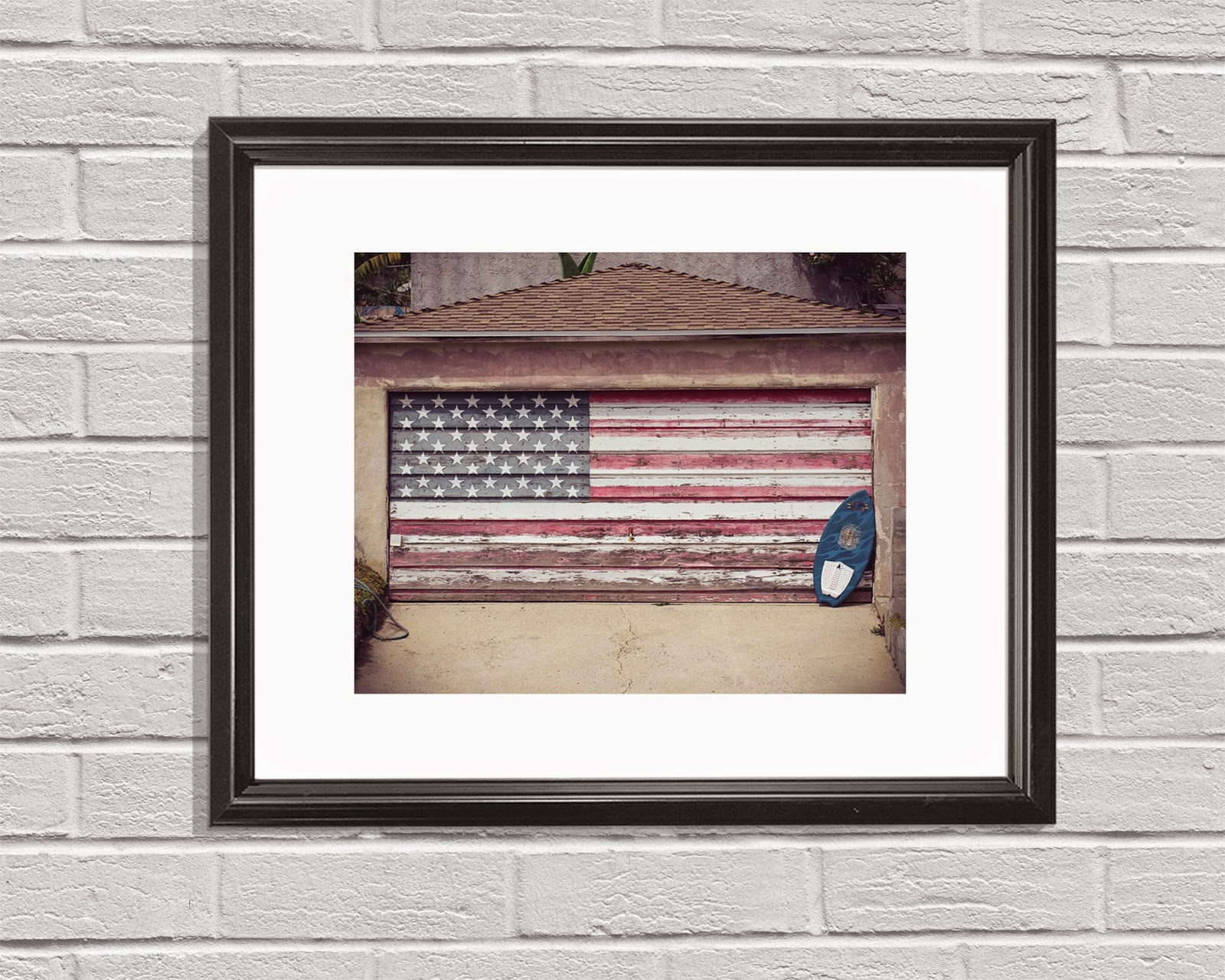 Vintage American Flag Print, Americana Photography, Pacific Coast Highway Malibu, California Wall Art