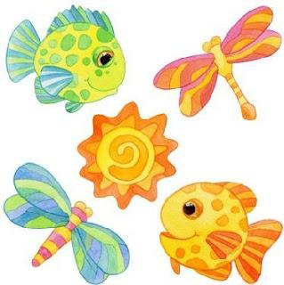 peces y libelulas en coloridos dibujos