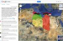 Mapa de Libia y crisis del régimen de Gadafi en Google Maps