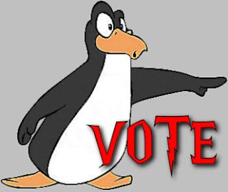 A penguin encouraging people to vote