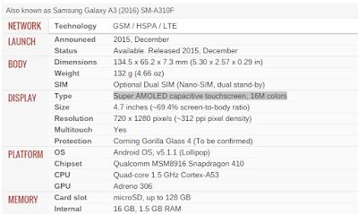 spesifikasi samsung galaxy A3