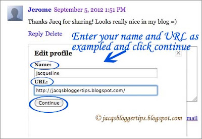 Screenshot showing the pop-up window to complete your name and URL