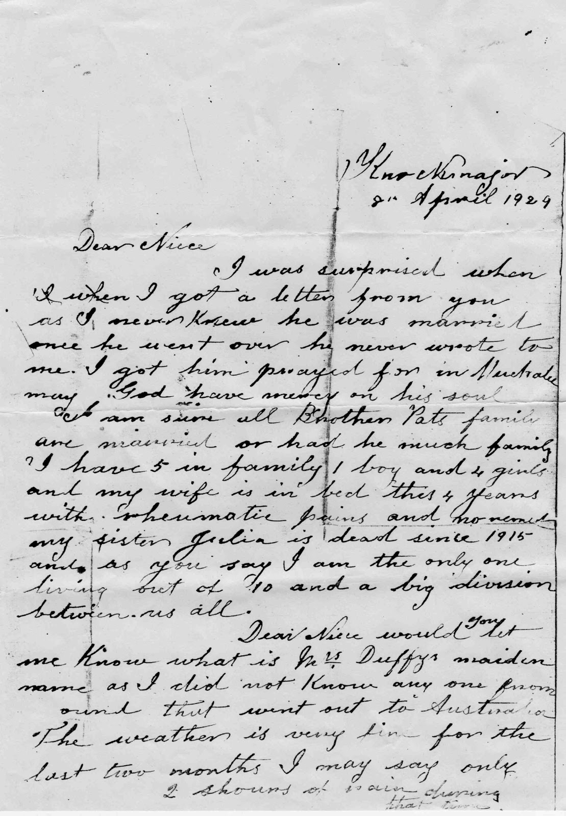 The tree of me brennan letter from knockmajor mary anns father william had died in december 1928 and she had obviously written to ireland to inform his family spiritdancerdesigns Images
