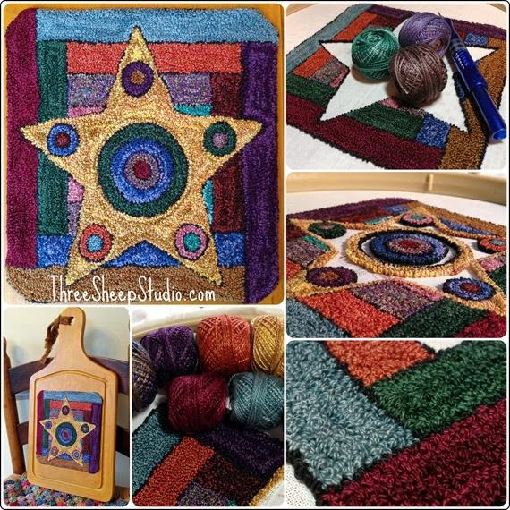 """Lancaster County Star"" Punch Needle design - ThreeSheepStudio.com"