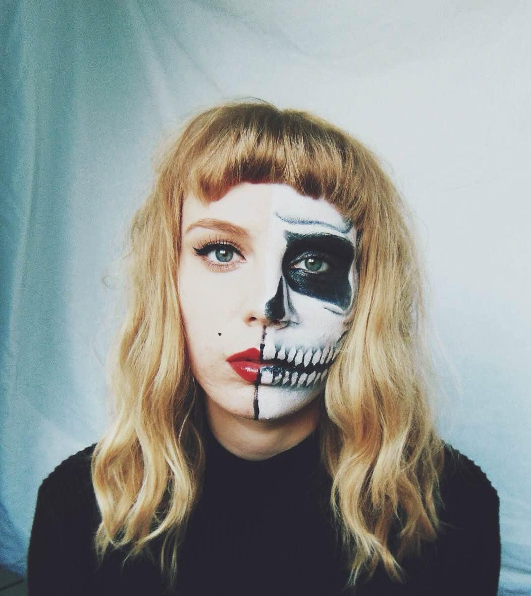halloween half face paint ideas halloween makeup half skull half pin up alybell - Skull Face Painting Ideas For Halloween