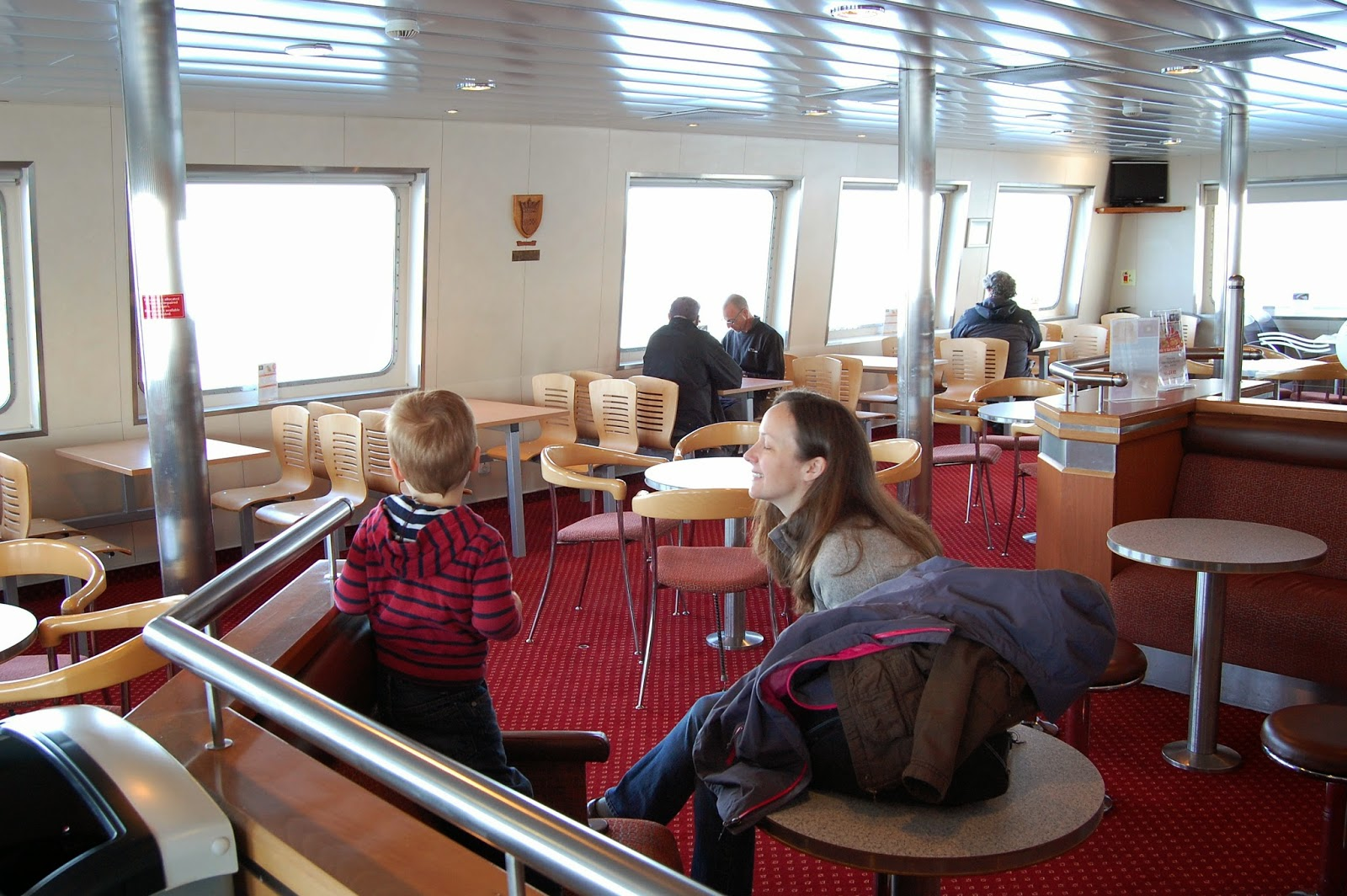 Indoor seating on a Caledonian MacBrayne ferry boat