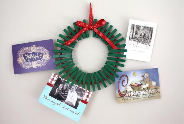 Corona porta tarjetas manualidades de navidad