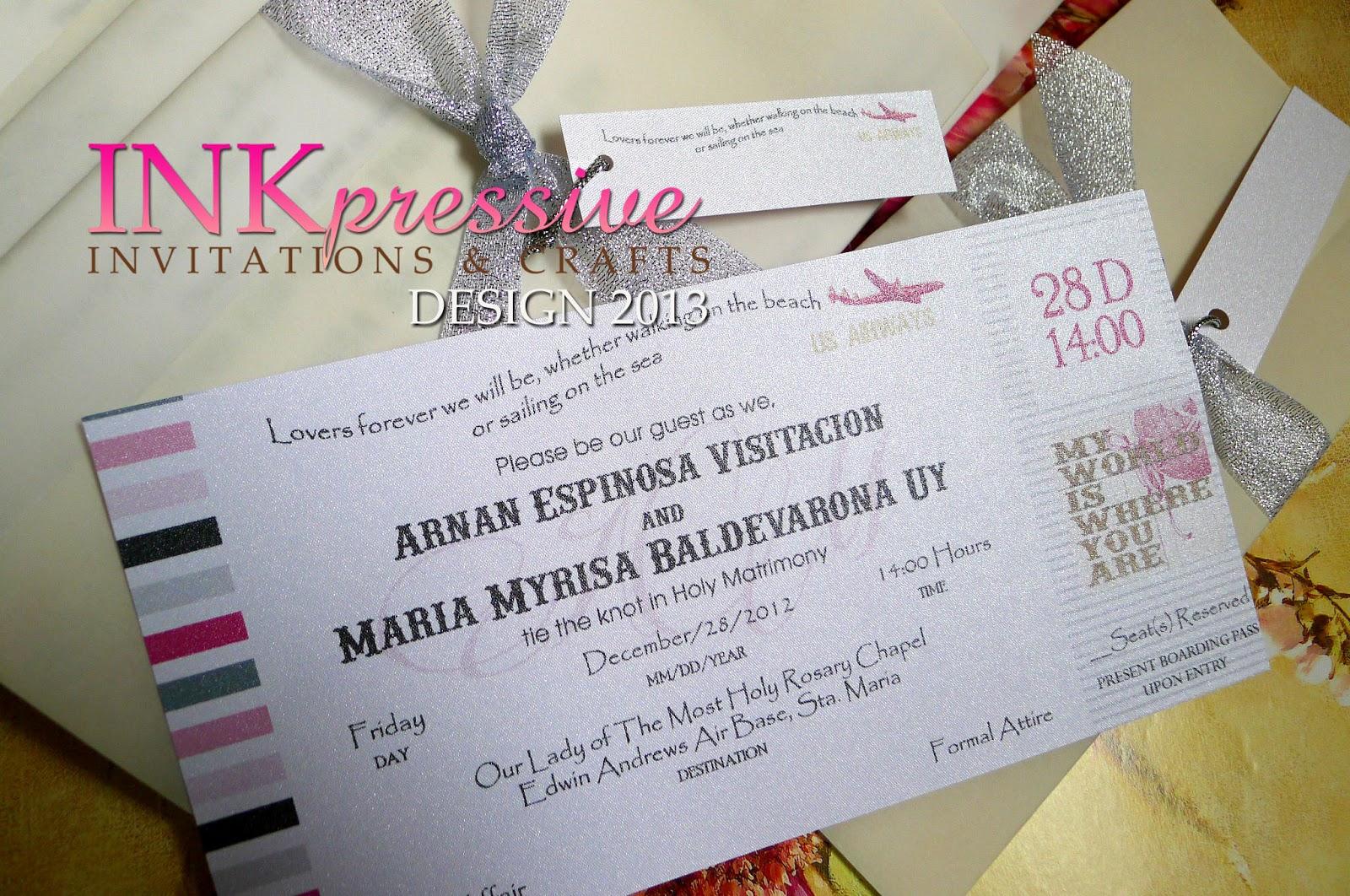 Boarding Pass Wedding Invitation | INKPRESSIVE INVITATIONS
