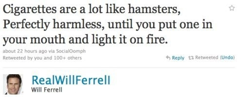 Cigarettes Are Lot Like Hamsters, Perfectly Harmless, Until You Put One In Your Mouth And Light It On Fire. - Will Ferrell