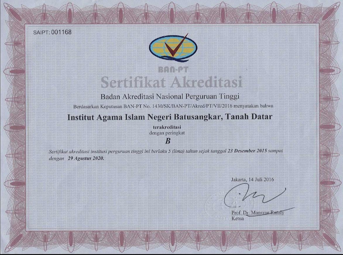 Sertifikat Akreditasi Institusi