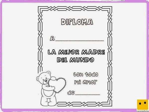 Dibujo Facil: Dibujo de un Diploma para Mama para Colorear y Pintar