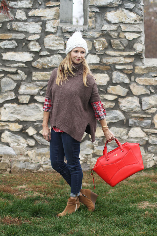 cream beanie, turtleneck poncho, plaid shirt, UGG booties, kate spade bag