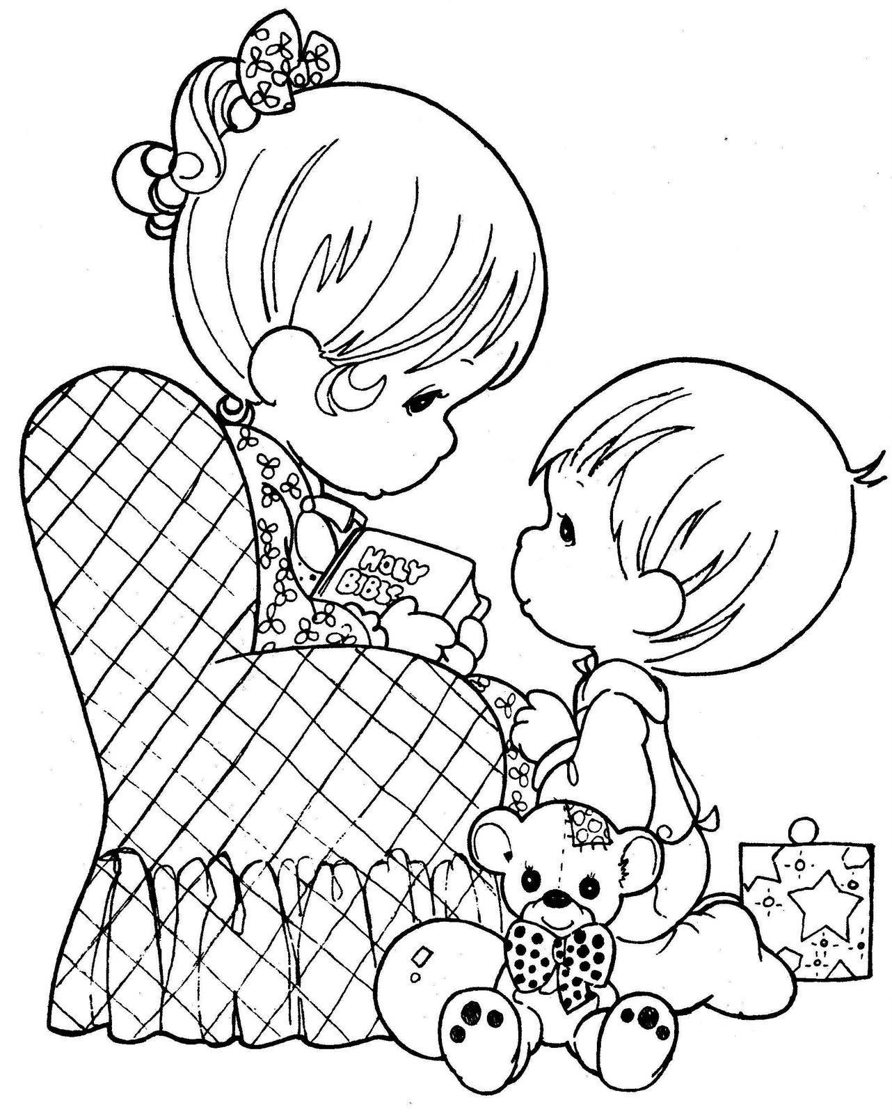 Drawing of Mom reading with your child to color ~ Child Coloring