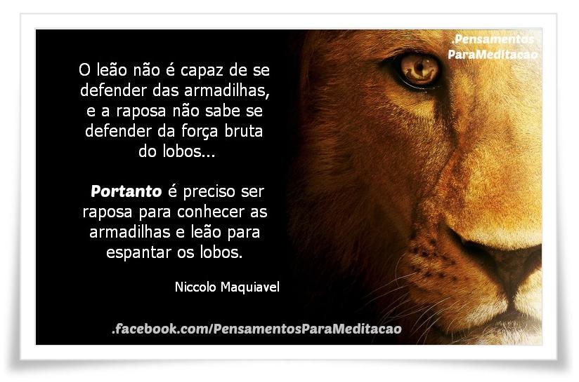 S 90 3 >> O leão e a Raposa - Pensamentos para Meditação!