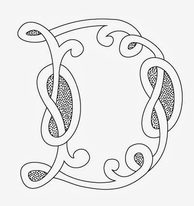 D Celtic calligraphy monogram tattoo stencil