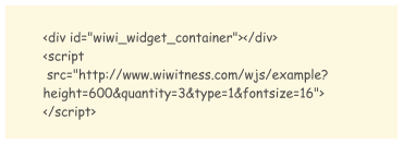 Java Script code to embed Wiwitness widget on customer site