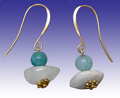 Genuine Teal Blue Agate stone and Natural Aquamarine Gems Earrings Small S