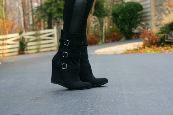 Buckled Wedge Boots from Forever 21