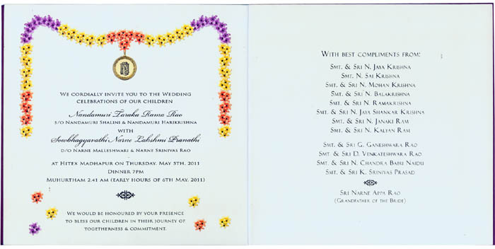 Hindu Wedding card, Tamil  Telugu Wedding Cards