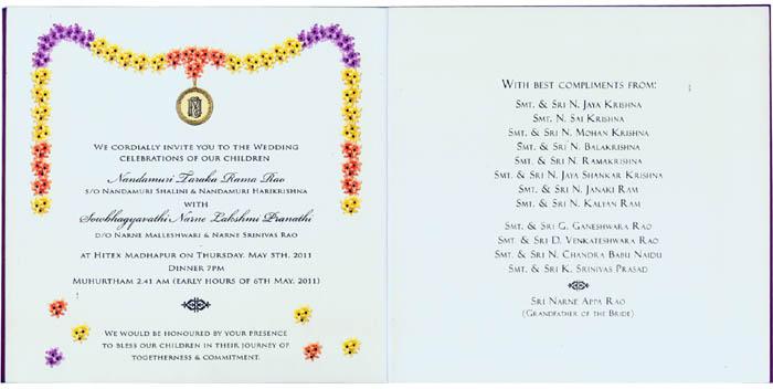 Hindu Wedding card, Tamil  Telugu Wedding Cards