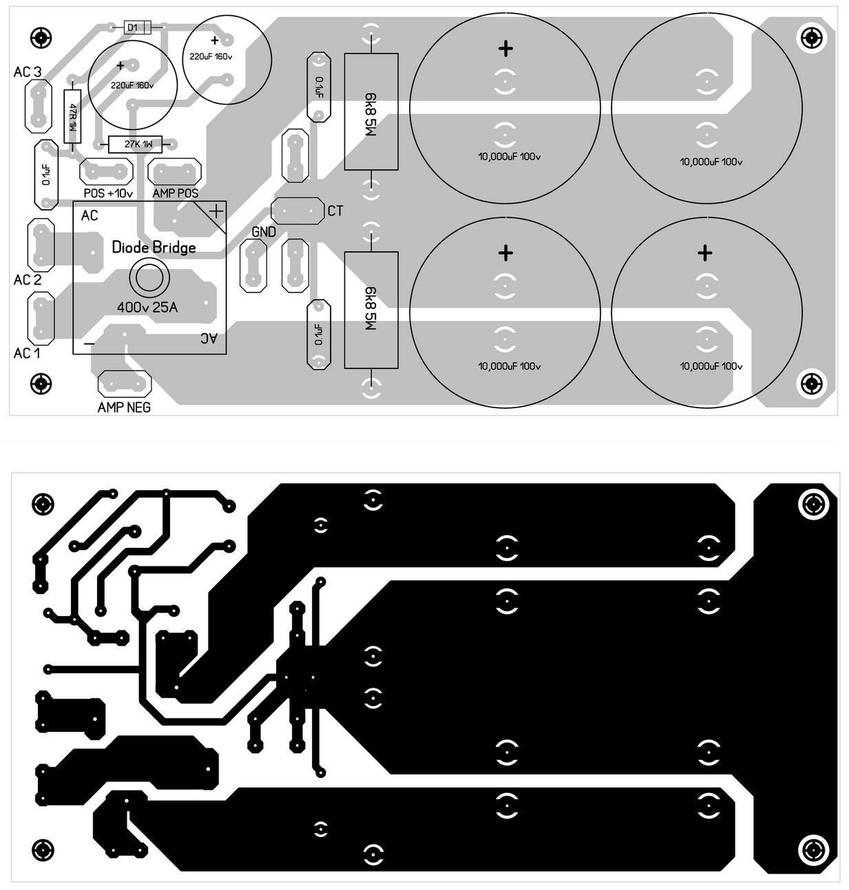 600 Watt Mosfet Power Amplifier Diagram With Pcb