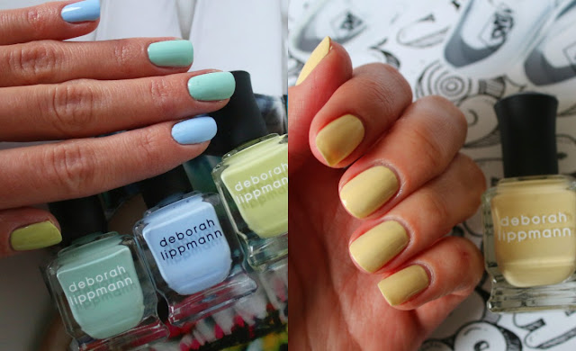 Deborah Lippmann Build me up Buttercup, Flowers in her hair, Spring buds, Blue Orchid swatches