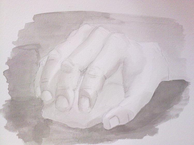 tinta china de una mano