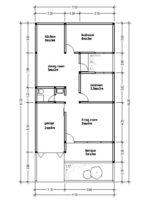 House plans 8x16 house affair for Kitchen ideas 5m x 3m