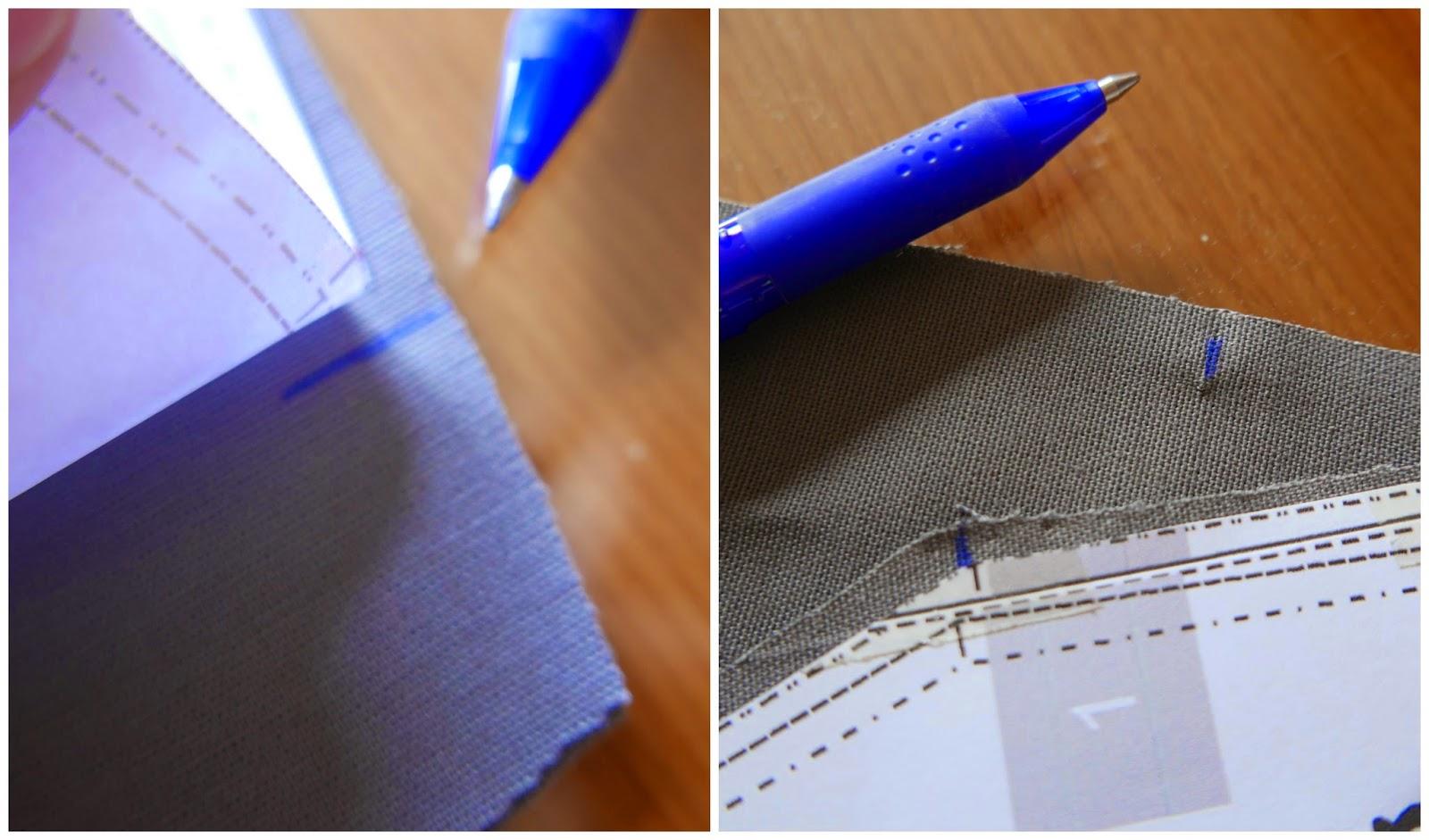 Sólo hay que pasar los piquetes con rotulador Frixion a la tela