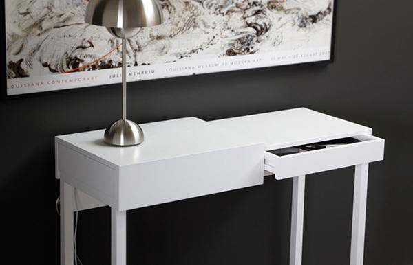 Hogares frescos escritorio compacto blanco mostrando su for Escritorios compactos
