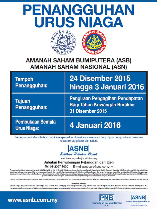 Dividen dan Bonus ASB 2015 akan diumumkan tak lama lagi