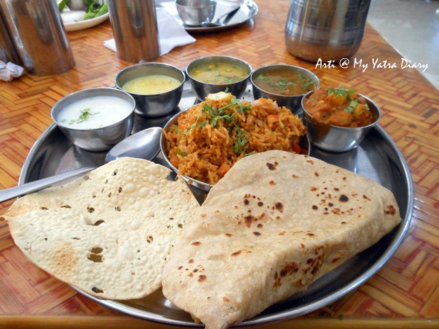 Maharashtrian Thali in MTDC Pure Vegetarian Restaurant in Shirdi - Neem