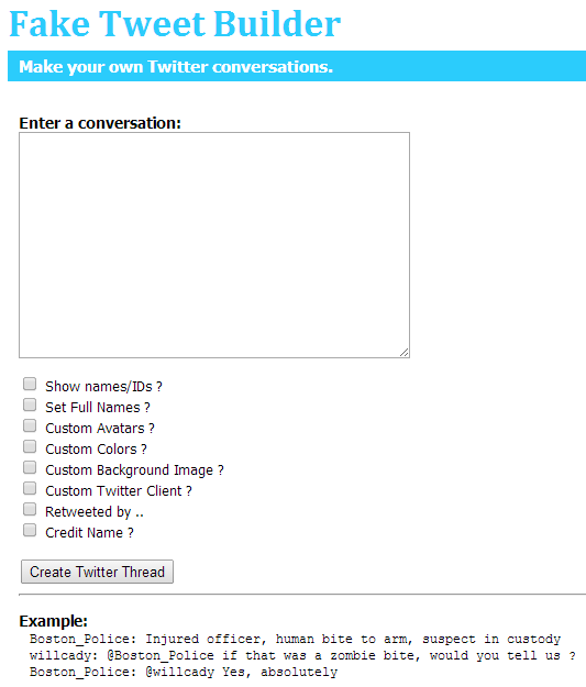 Fake Tweet and Twitter Conversation Builder | AfL