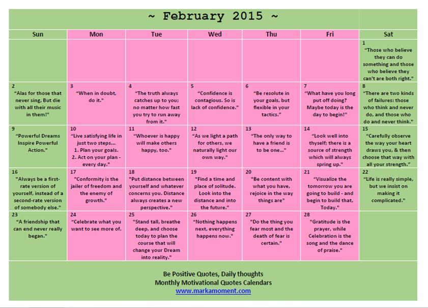 Calendar Inspiration 2015 : Motivational printable calendar search results