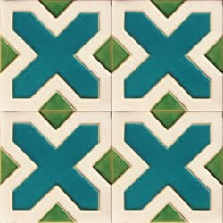 square handmade green turquoise and cream clay tile