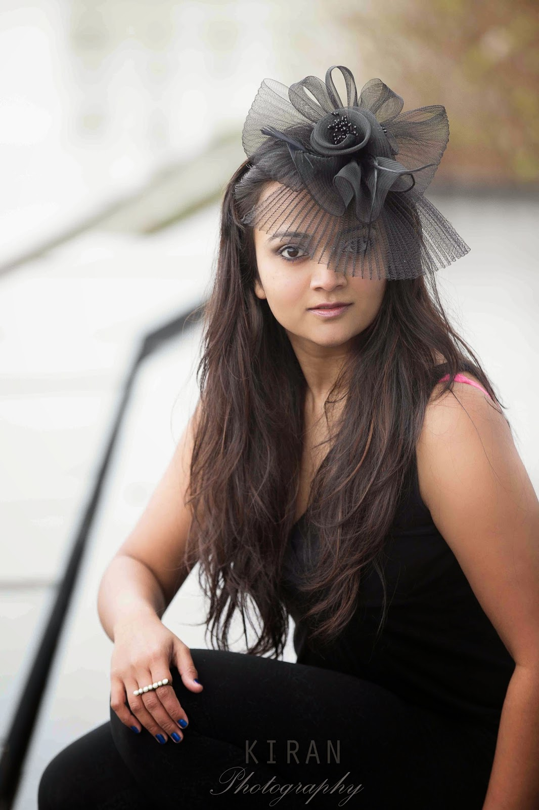 head piece, hair accessory, Hair styles, Hair fashion, Indian girl with hair accessory, Bold hair accessory, Ananya Kiran, black leggings with black top, Seattle space needle pictures