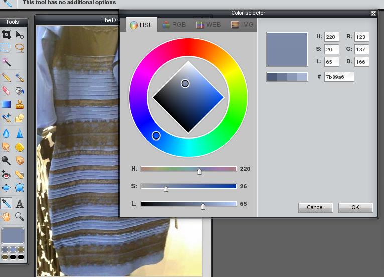 Photo editor showing blue on the colour wheel but very light on the light / dark scale