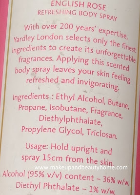 Yardley London English Rose Refreshing Deodorant Body Spray Review