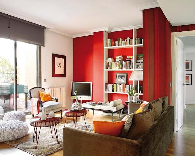 decoração de sala em vermelho, decorando com vermelho