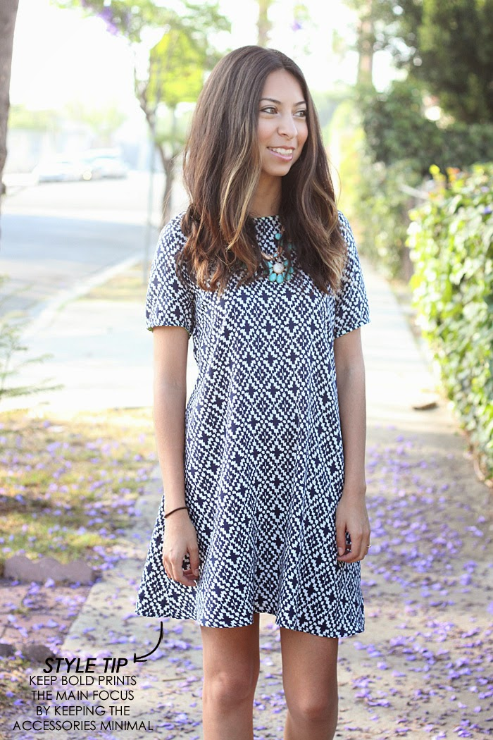 blue printed dress