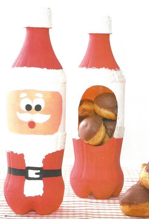 Papai noel porta biscoito com garrafa pet