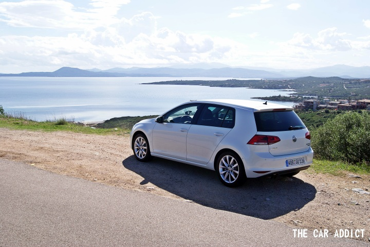 new white Volkswagen Golf 7 in Sardinia, Italy
