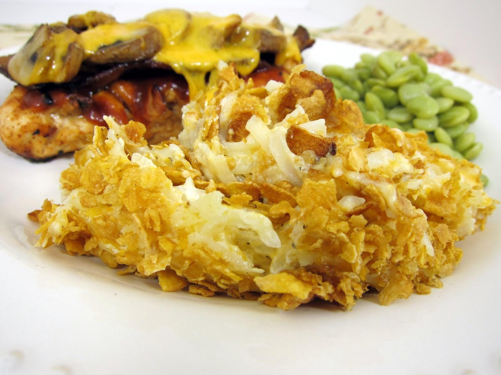 Cheesy Potato Casserole Recipe - frozen hash browns, cream of chicken ...
