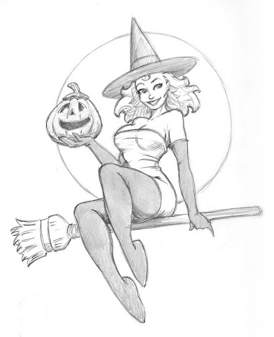 sketch of halloween witch