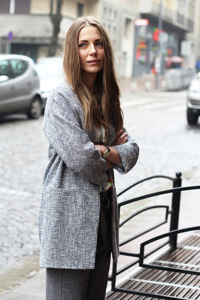 Two-tone Structured Weave Coat
