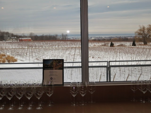 View of Lake Ontario from the Wine Lodge at Fielding Estate Winery.
